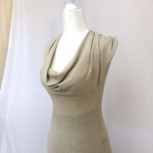 Cache Sleeveless Sparkle Sweater in Beige/Cream XS